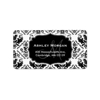 Classic and Chic Black White Damask Monogram Name Label