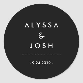 Classic and Minimal Black and White Wedding Classic Round Sticker