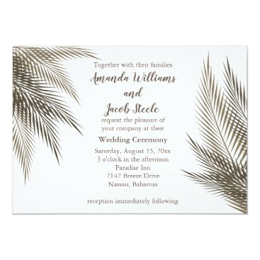 Beach Themed Classic and Natural Palm Leaves Wedding Invite