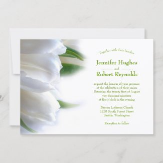 Classic and Romantic Budget White Floral Wedding Invitation