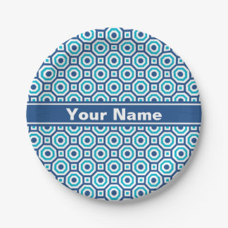 Classic and Scuba Blues Nested Octagon Paper Plate 7 Inch Paper Plate