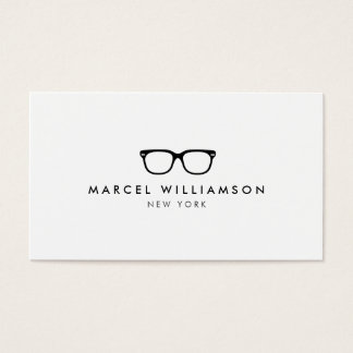 Classic and Simple Black Eyeglasses Logo on White Business Card