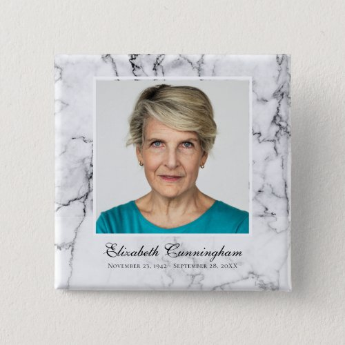 Classic and Simple Photo Marble Memorial Button