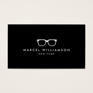Classic and Simple White Eyeglasses Logo on Black Business Card