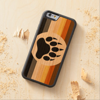 Classic and Stylish Bear Pride Flag and Bear Paw Carved® Cherry iPhone 6 Bumper