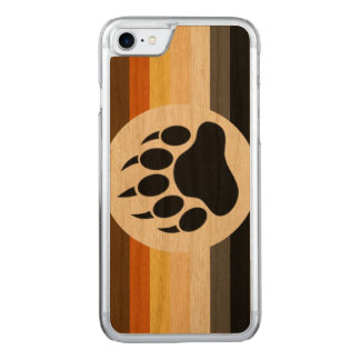 Classic and Stylish Bear Pride Flag and Bear Paw Carved iPhone 7 Case