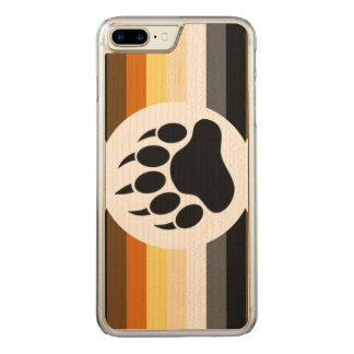 Classic and Stylish Bear Pride Flag and Bear Paw Carved iPhone 7 Plus Case