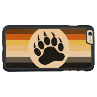 Classic and Stylish Bear Pride Flag and Bear Paw Carved® Maple iPhone 6 Plus Case