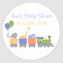 Classic Animals On A Train Baby Shower Sticker
