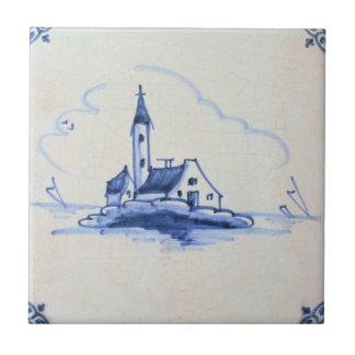 Classic Antiquarian Delft Blue Tile - Church