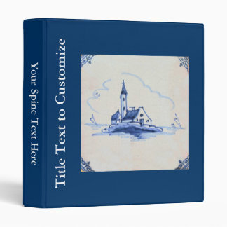 Classic Antiquarian Delft Blue Tile - Church 3 Ring Binder