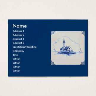 Classic Antiquarian Delft Blue Tile - Church Business Card