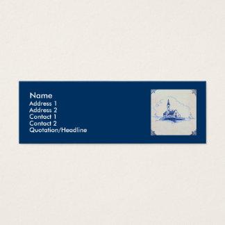 Classic Antiquarian Delft Blue Tile - Church Mini Business Card