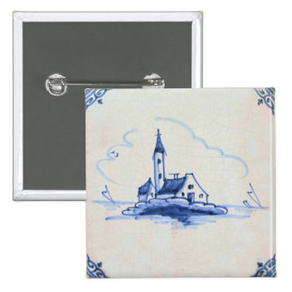 Classic Antiquarian Delft Blue Tile - Church Pinback Button