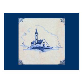 Classic Antiquarian Delft Blue Tile - Church Postcard