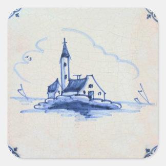 Classic Antiquarian Delft Blue Tile - Church Square Sticker
