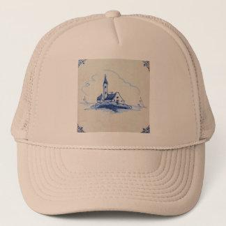 Classic Antiquarian Delft Blue Tile - Church Trucker Hat