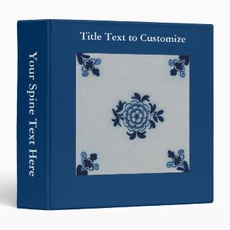 Classic Antiquarian Delft Blue Tile - Floral Motif 3 Ring Binder