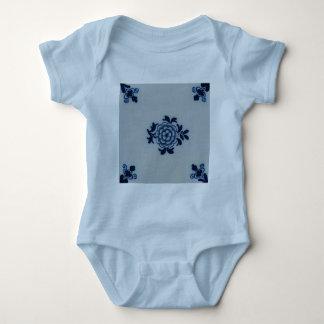 Classic Antiquarian Delft Blue Tile - Floral Motif Baby Bodysuit