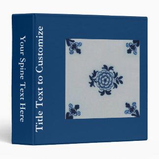 Classic Antiquarian Delft Blue Tile - Floral Motif Binder