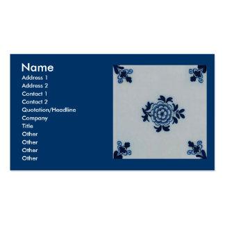 Classic Antiquarian Delft Blue Tile - Floral Motif Business Card