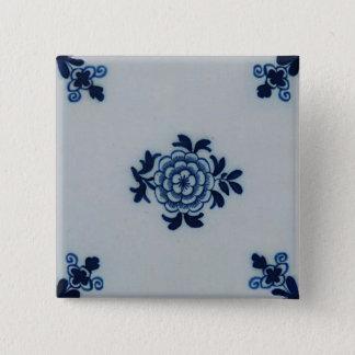 Classic Antiquarian Delft Blue Tile - Floral Motif Button