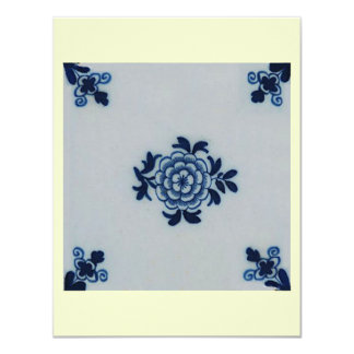Classic Antiquarian Delft Blue Tile - Floral Motif Card