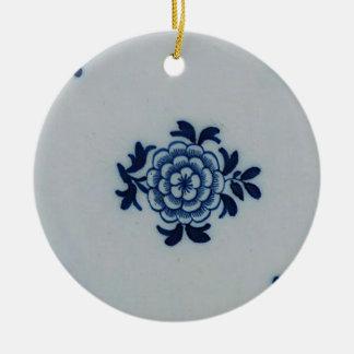 Classic Antiquarian Delft Blue Tile - Floral Motif Ceramic Ornament