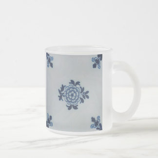 Classic Antiquarian Delft Blue Tile - Floral Motif Frosted Glass Coffee Mug