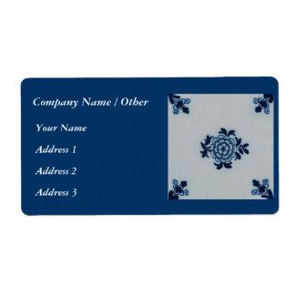 Classic Antiquarian Delft Blue Tile - Floral Motif Label