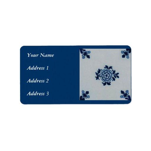 Classic Antiquarian Delft Blue Tile - Floral Motif Address Label