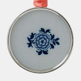 Classic Antiquarian Delft Blue Tile - Floral Motif Metal Ornament