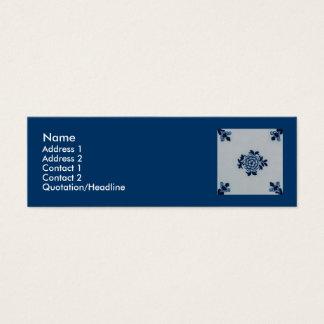 Classic Antiquarian Delft Blue Tile - Floral Motif Mini Business Card