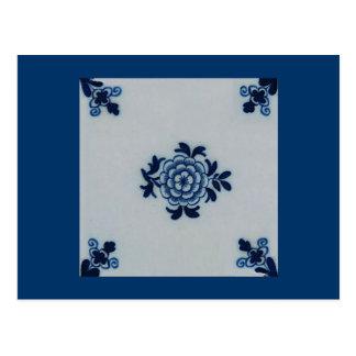Classic Antiquarian Delft Blue Tile - Floral Motif Postcard