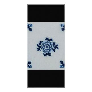 Classic Antiquarian Delft Blue Tile - Floral Motif Rack Card
