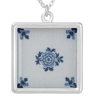 Classic Antiquarian Delft Blue Tile - Floral Motif Silver Plated Necklace