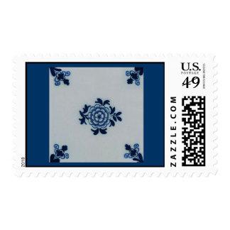 Classic Antiquarian Delft Blue Tile - Floral Motif Stamp