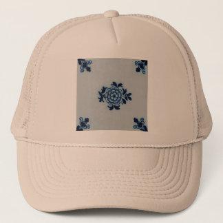 Classic Antiquarian Delft Blue Tile - Floral Motif Trucker Hat