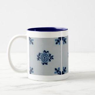 Classic Antiquarian Delft Blue Tile - Floral Motif Two-Tone Coffee Mug