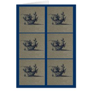 Classic Antiquarian Delft Blue Tile - Fruit Basket Card
