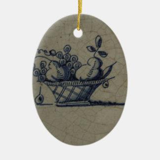 Classic Antiquarian Delft Blue Tile - Fruit Basket Ceramic Ornament