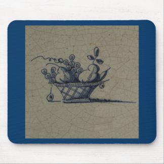 Classic Antiquarian Delft Blue Tile - Fruit Basket Mouse Pad