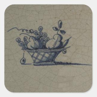 Classic Antiquarian Delft Blue Tile - Fruit Basket Square Sticker