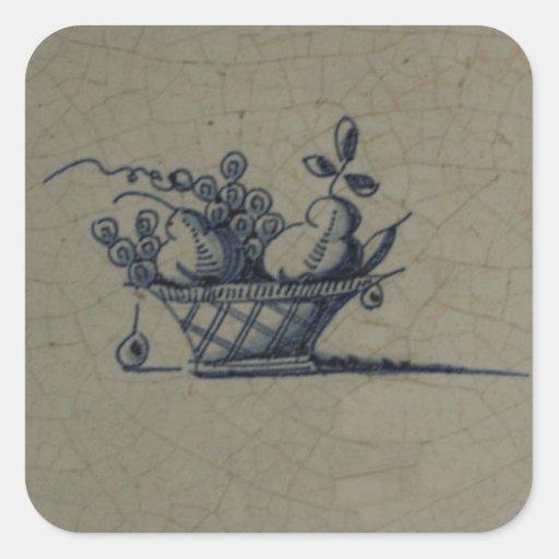 Classic Antiquarian Delft Blue Tile - Fruit Basket Stickers