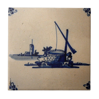Classic Antiquarian Delft Blue Tile - Water Well