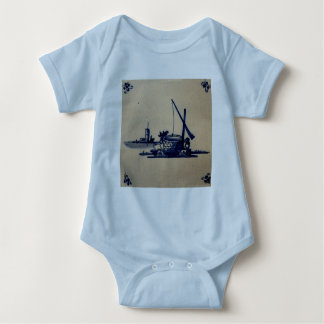 Classic Antiquarian Delft Blue Tile - Water Well Baby Bodysuit