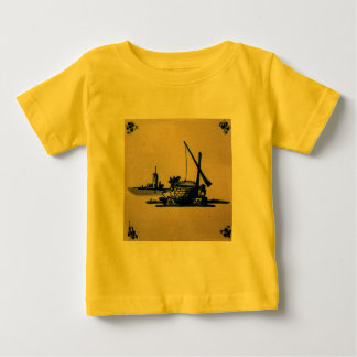 Classic Antiquarian Delft Blue Tile - Water Well Baby T-Shirt