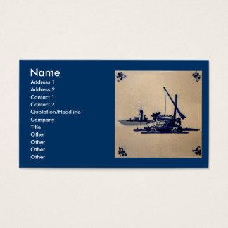 Classic Antiquarian Delft Blue Tile - Water Well Business Card