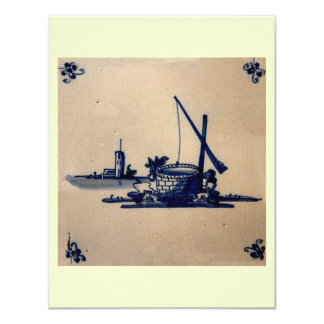 Classic Antiquarian Delft Blue Tile - Water Well Custom Invite
