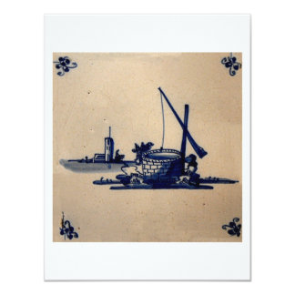 Classic Antiquarian Delft Blue Tile - Water Well Custom Invites